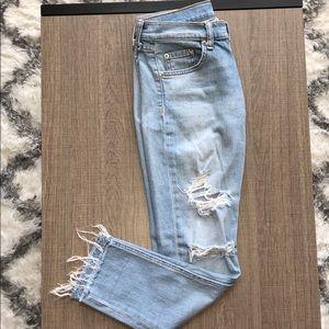 Rag & bone low-rise ripped jeans
